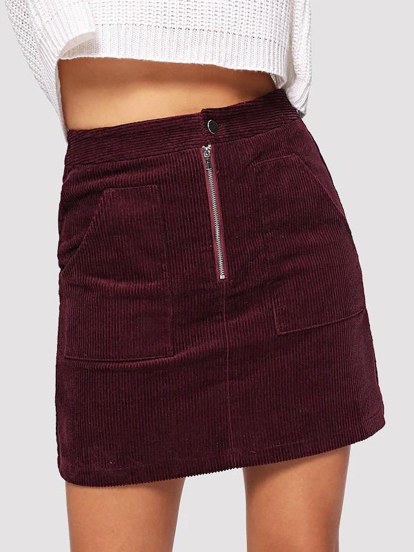Pocket Front Cord Skirt