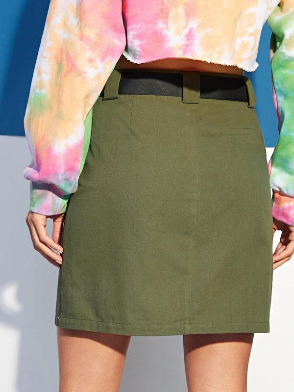 Pocket Patched Ribbon Detail Skirt