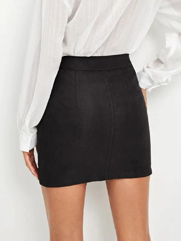 Pocket Patched Zipper Up Skirt