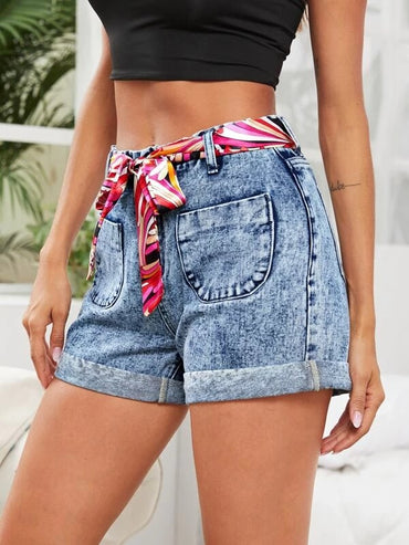 Women Pocket Patch Cuffed Denim Shorts With Belt