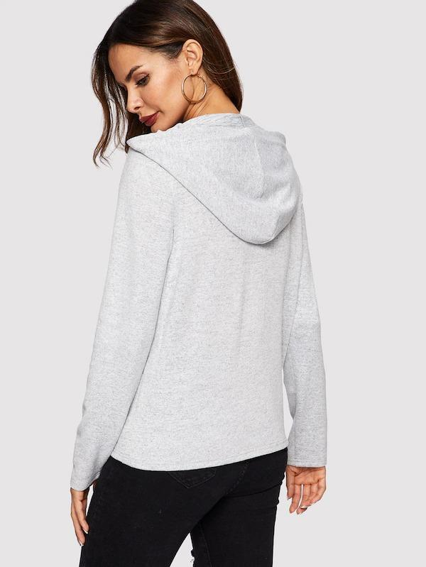 Pocket Front Heather Grey Zipper Hooded Sweatshirt