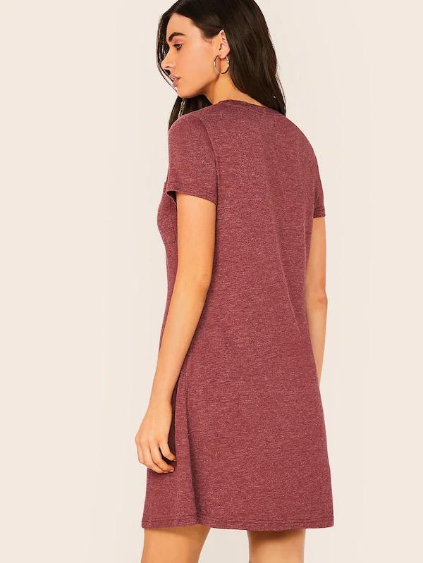 Pocket Patched Marled Dress