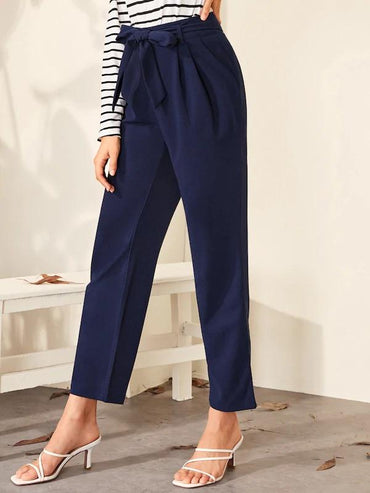 Pocket Side Belted Straight Leg Pants
