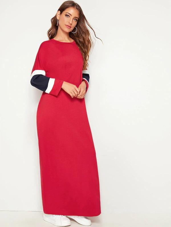 Pocket Side Colorblock Maxi Sweatshirt Dress