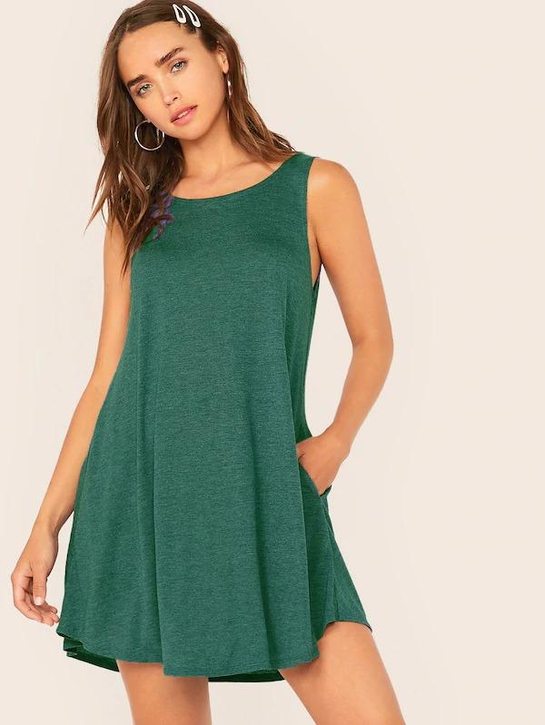 Pocket Side Swing Tank Dress