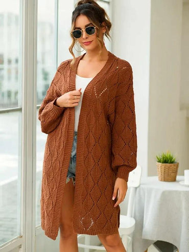 Pointelle Knit Lantern Sleeve Cardigan