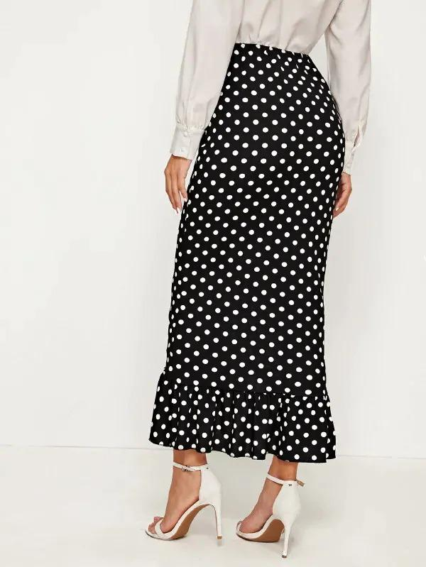 Polka Dot Button Front Mermaid Skirt
