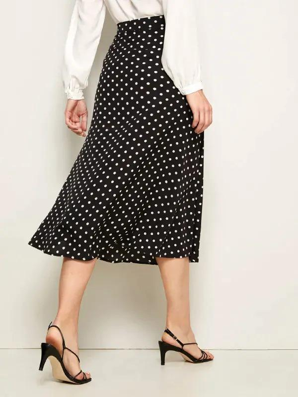 Polka Dot High Split Front Skirt