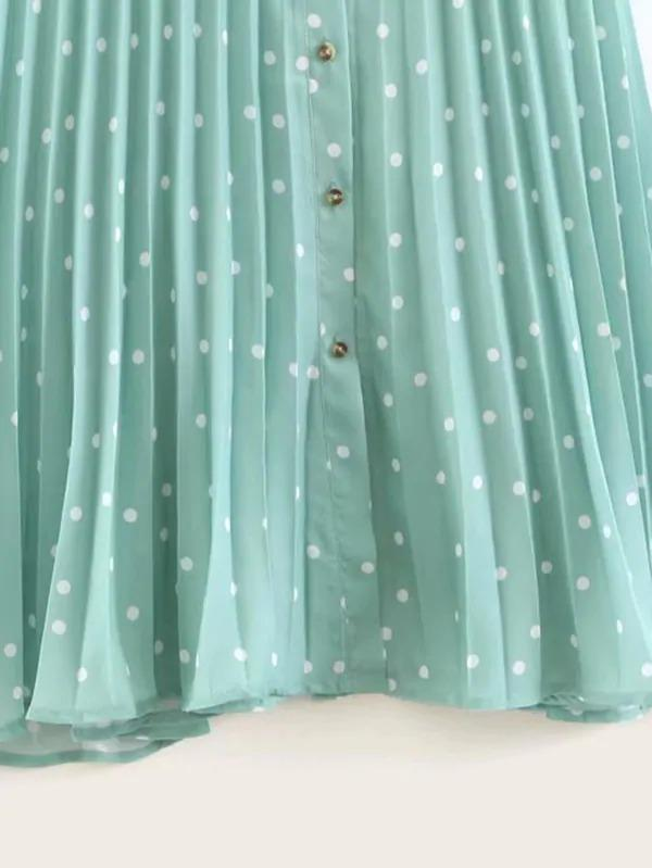 Polka Dot Print Button Front Pleated Skirt