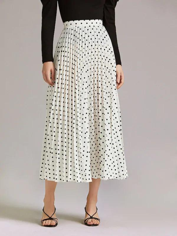 Polka Dot Print Pleated Skirt
