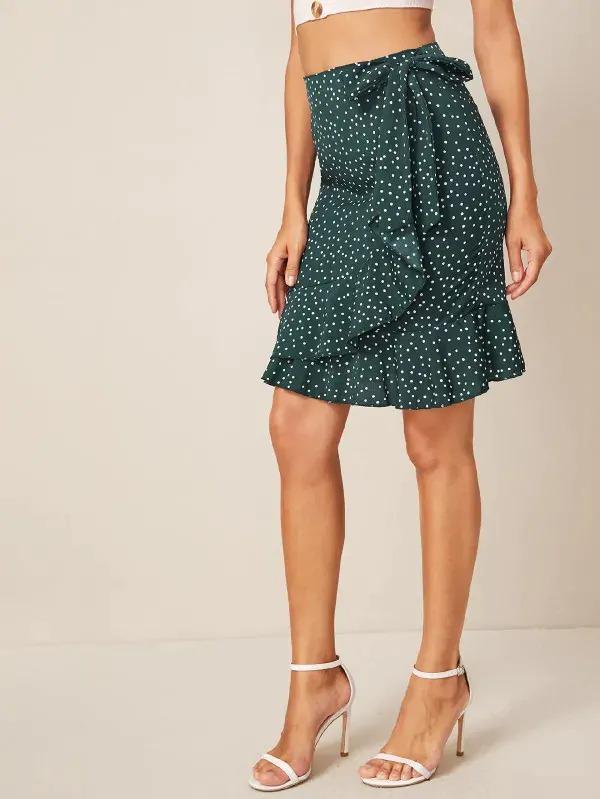 Polka Dot Ruffle Trim Tie Side Wrap Skirt