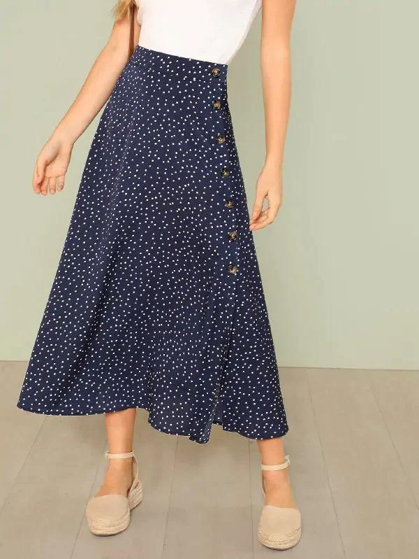 Polka Dot Slit Side Skirt