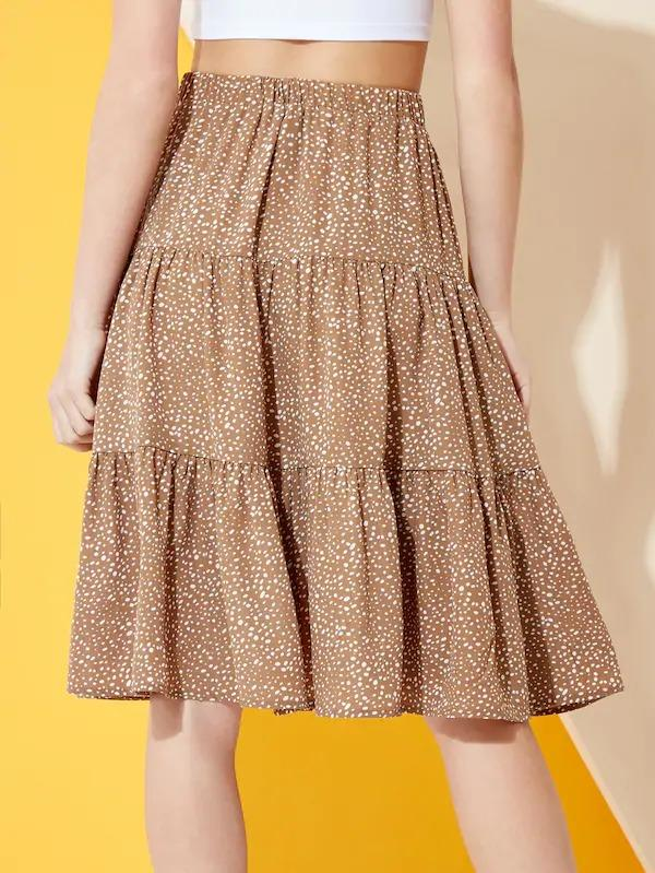 Polka Dot Tiered Midi Skirt