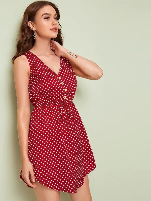 Polka-Dot Print Button Front Drawstring Waist Dress