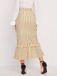 Women Polka Dot Frill Trim Asymmetrical Hem Skirt