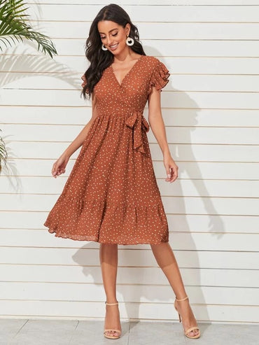 Women Polka Dot Print Knot Dress