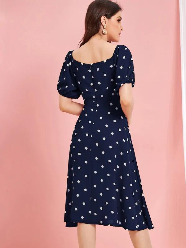 Polka Dot Button Front Square Neck Dress