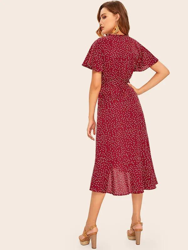 Polka Dot Ruffle Hem Self Tie Dress