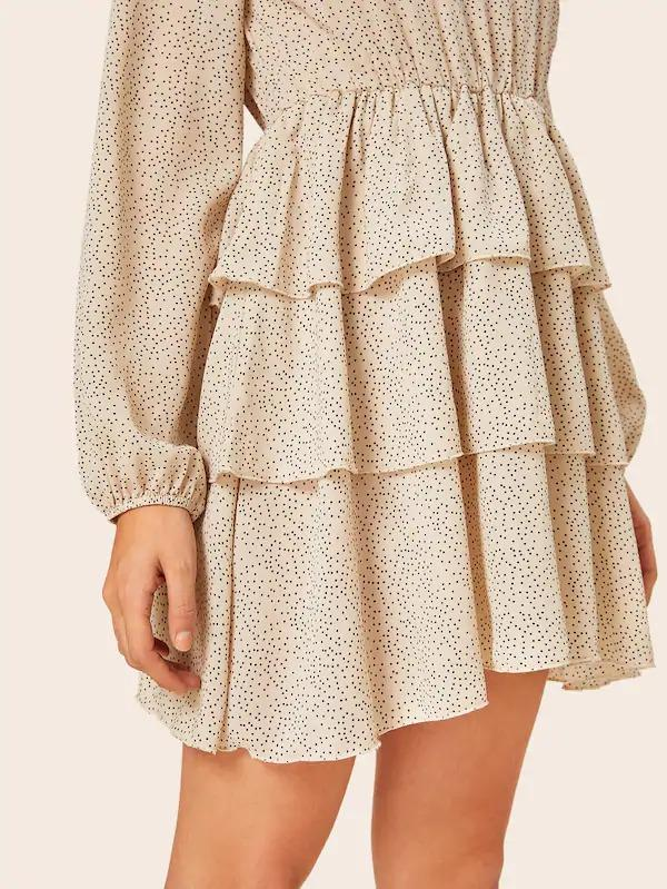 Polka Dot Tiered Layer Ruffle Hem Swing Dress
