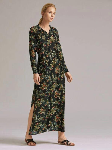Premium Button Front Ditsy Floral Print Slit Hem Belted Dress