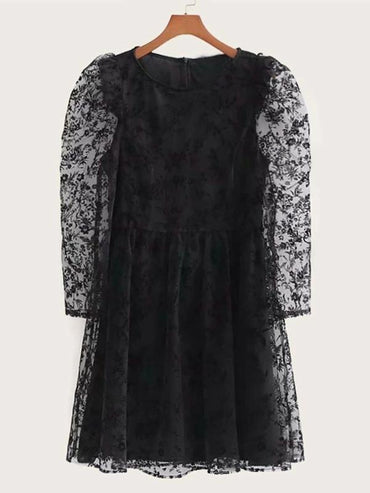 Puff Sleeve Embroidery Mesh Dress