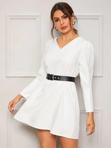 Puff Sleeve Self Tie Buttoned Back Dress