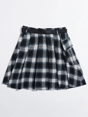 Women Push Buckle Belted Tartan Skirt
