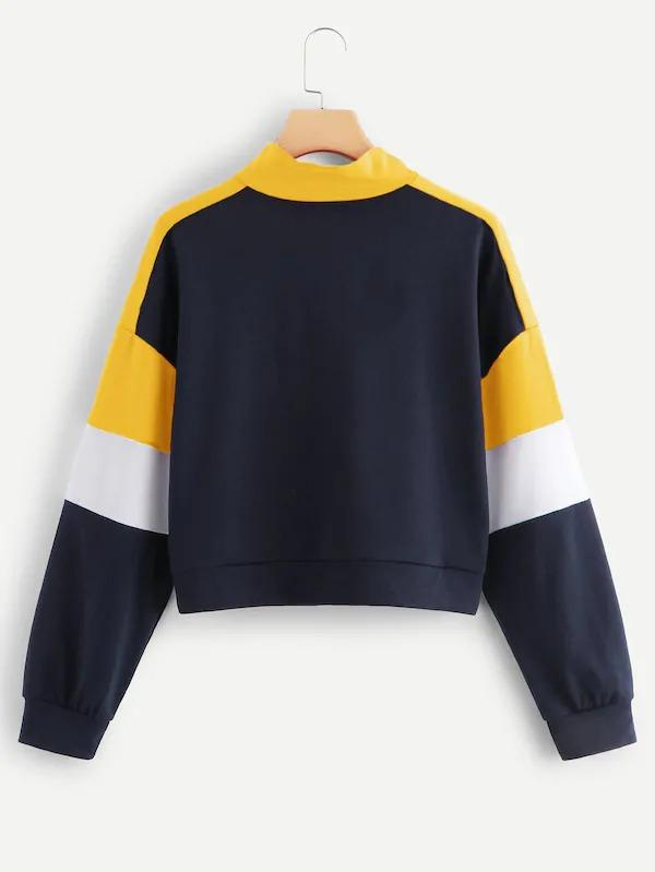 Quarter Zip Cut And Sew Panel Sweatshirt