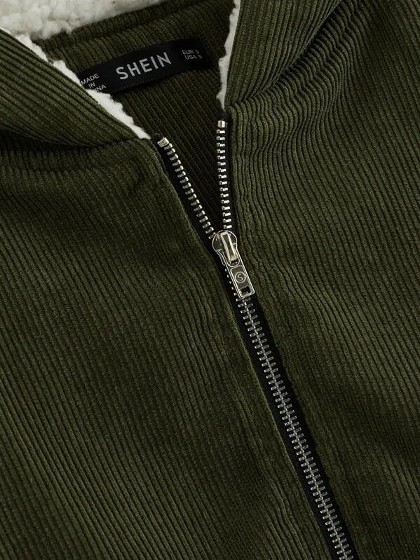 Raglan Sleeve Corduroy Coat With Contrast Lined Hood