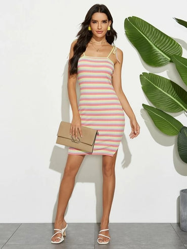 Women Rainbow Stripe Tie Shoulder Cami Dress