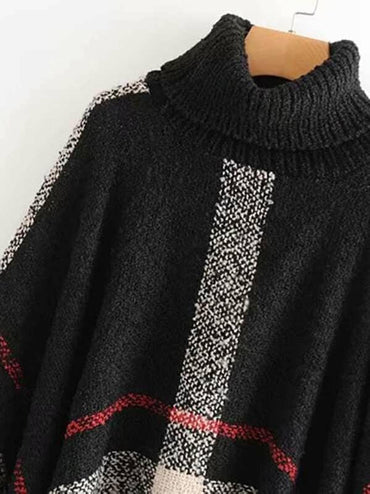 Raw Hem Poncho Sweater