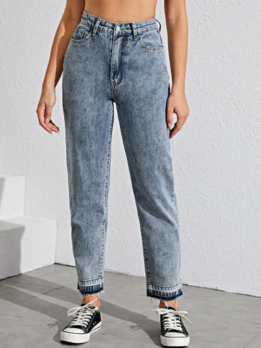 Women Raw Hem Acid Wash Mom Jeans