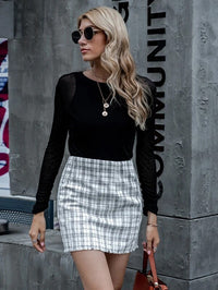 Women Raw Hem Plaid Tweed Skirt