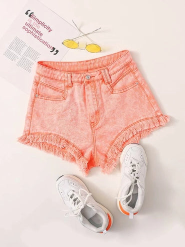 Women Raw Hem Ripped Denim Shorts Without Belt