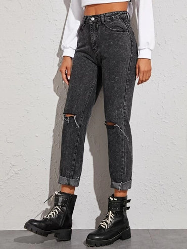 Women Raw Hem Ripped Knee Jeans
