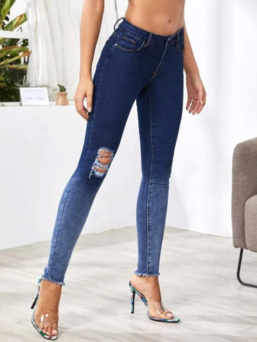 Women Raw Hem Ripped Skinny Jeans