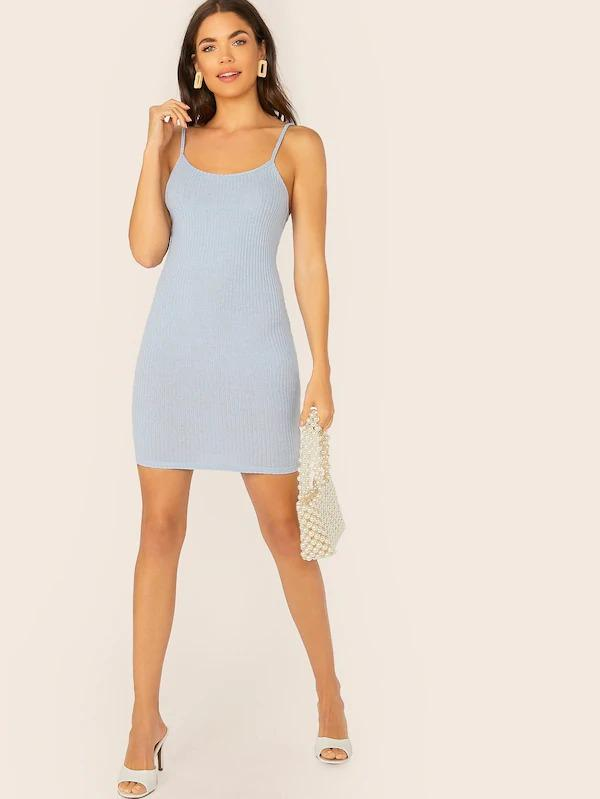 Rib-Knit Bodycon Slip Dress