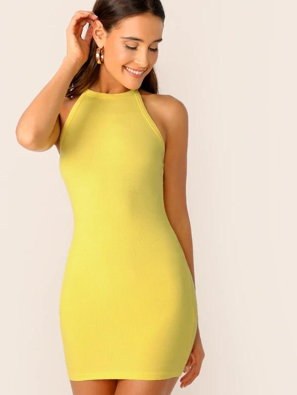 Rib-Knit Form Fitted Halter Dress