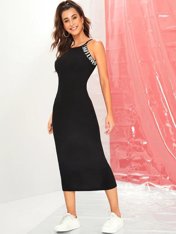Rib-Knit Slit Back Pencil Dress