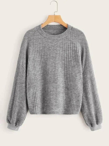 Ribbed Drop Shoulder Solid Jumper