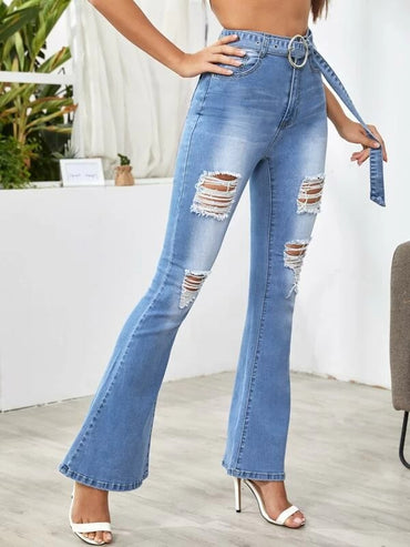 Women Ripped Detail Belted Flare Leg Jeans