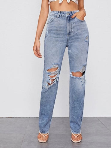 Women Ripped Detail Bleach Wash Jeans