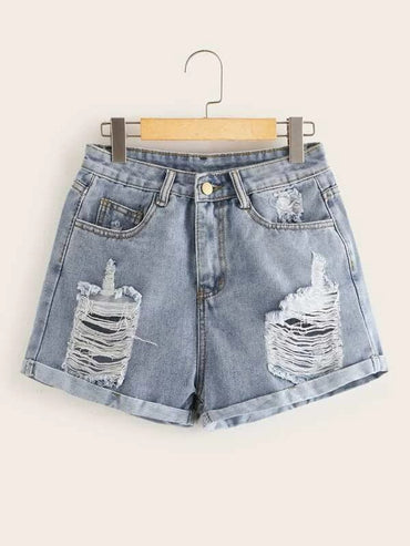 Women Ripped Detail Cuffed Hem Denim Shorts