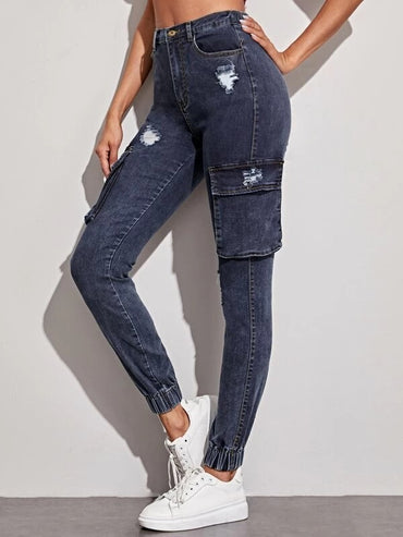 Women Ripped Detail Flap Pocket Denim Pants