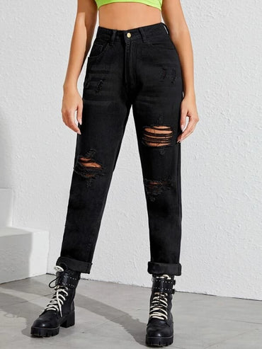 Women Ripped Detail Jeans