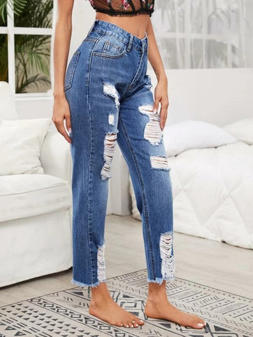 Women Ripped Detail Raw Hem Crop Jeans