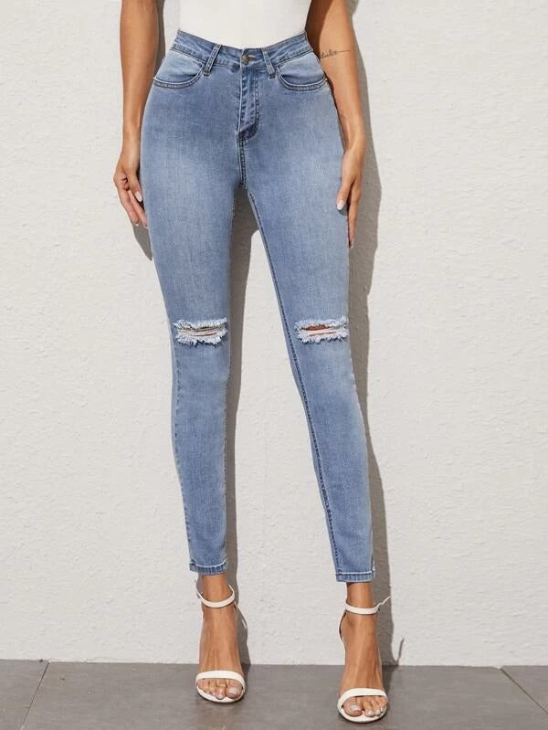 Women Ripped Detail Skinny Jeans