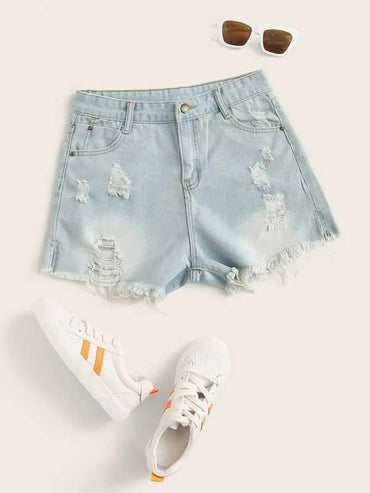 Women Ripped Raw Hem Solid Denim Shorts Without Belt