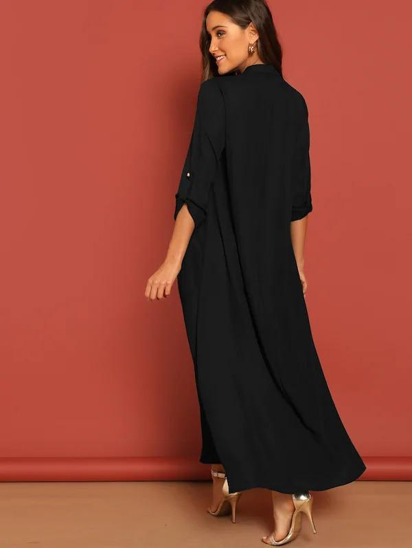 Roll Up Sleeve Buttoned Half Placket Maxi Dress