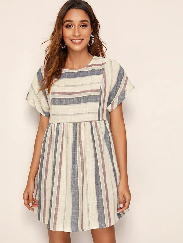 Rolled Cuff Pocket Side Striped Dress